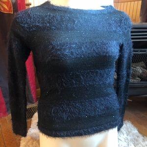 Ann Taylor LOFT Black Fuzzy Shimmer Stripe Sweater